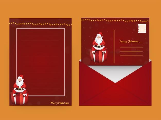 Tarjeta de felicitación de feliz navidad o carta vacía con sobre de doble cara en color rojo