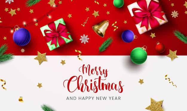 Tarjeta de felicitación de feliz navidad con paquetes de regalo y estrellas y bolas de navidad brillantes.