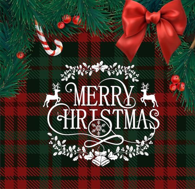 Tarjeta de felicitación de feliz navidad con patrón a cuadros rojo y verde escocés ramas de abeto bayas de acebo y lazo de satén