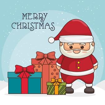 Tarjeta de felicitación de feliz navidad con personaje de santa claus y cajas de regalo o regalos