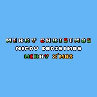 Tarjeta de felicitación de feliz navidad de pixel art