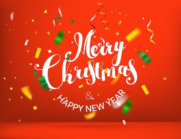 Tarjeta de felicitación de feliz navidad y próspero año nuevo con confeti