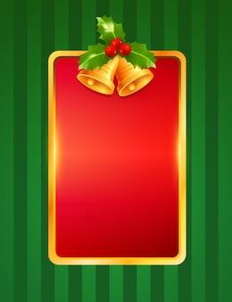 Tarjeta de felicitación de feliz navidad y próspero año nuevo con marco dorado campana bayas rojas fondo verde