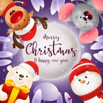 Tarjeta de felicitación de feliz navidad con ratón, oso polar y muñeco de nieve