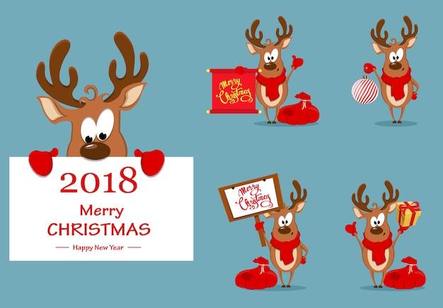 Tarjeta de felicitación de feliz navidad con renos graciosos