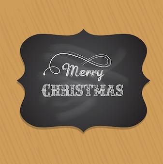 Tarjeta de felicitación de feliz navidad retro con fondo de textura de madera. plantilla para pancarta o póster