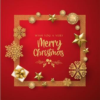 Tarjeta de felicitación de feliz navidad roja y dorada