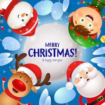 Tarjeta de felicitación de feliz navidad con santa claus, renos, duendes y muñeco de nieve