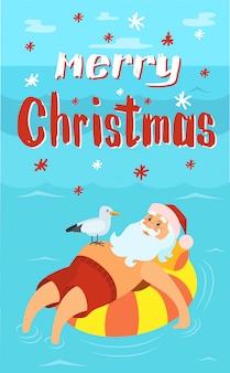 Tarjeta de felicitación de feliz navidad, santa claus en salvavidas, gaviota