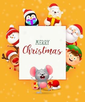 Tarjeta de felicitación de feliz navidad con simpáticos personajes