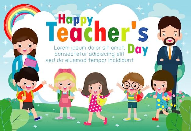 Tarjeta de felicitación feliz de la plantilla del día del profesor