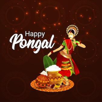 Tarjeta de felicitación feliz pongal, olla de barro de arroz, ilustración creativa de mujer india