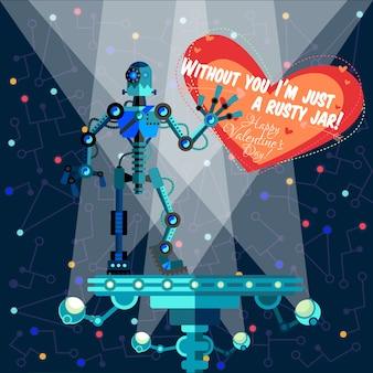 Tarjeta de felicitación feliz de san valentín sobre robot