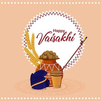 Tarjeta de felicitación feliz vaisakhi