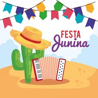 Tarjeta de felicitación de festa junina con acordeón e íconos tradicionales