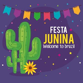 Tarjeta de felicitación de festa junina con cactus y guirnalda colgando