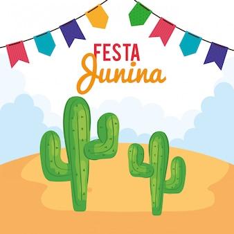 Tarjeta de felicitación de festa junina con cactus y guirnaldas colgantes