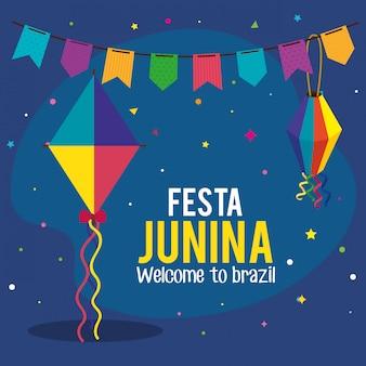 Tarjeta de felicitación festa junina con cometa y decoración.
