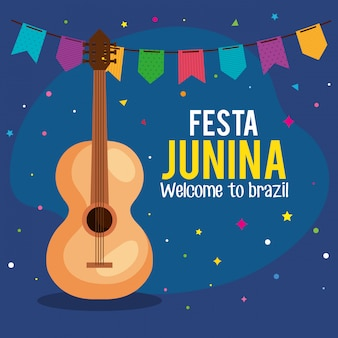 Tarjeta de felicitación de festa junina con guitarra y guirnaldas colgantes