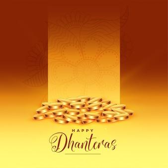 Tarjeta de felicitación del festival feliz dhanteras de monedas de oro