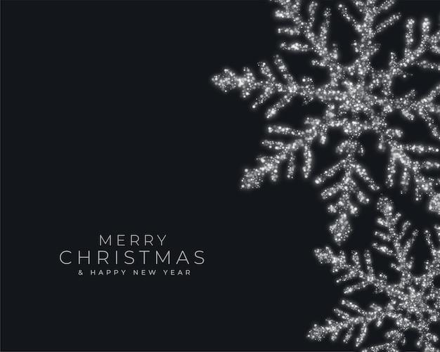 Tarjeta de felicitación del festival de feliz navidad con copos de nieve brillantes