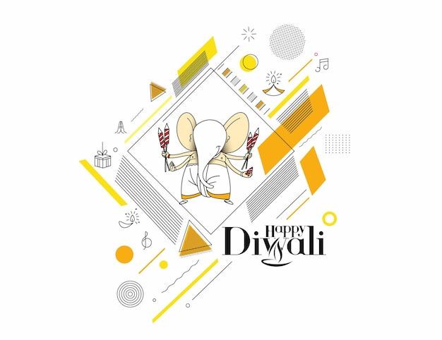 Tarjeta de felicitación del festival hindú de diwali, ilustración de vector de arte de línea dibujada a mano.