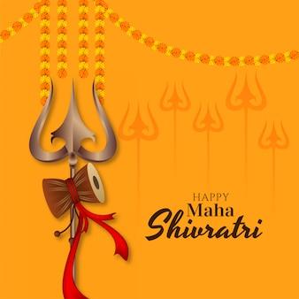 Tarjeta de felicitación del festival indio maha shivratri con trishul