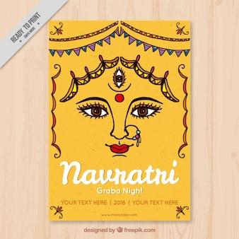 Tarjeta de felicitación del festival de navratri