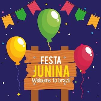 Tarjeta de felicitación de fiesta junina con globos helio y decoración