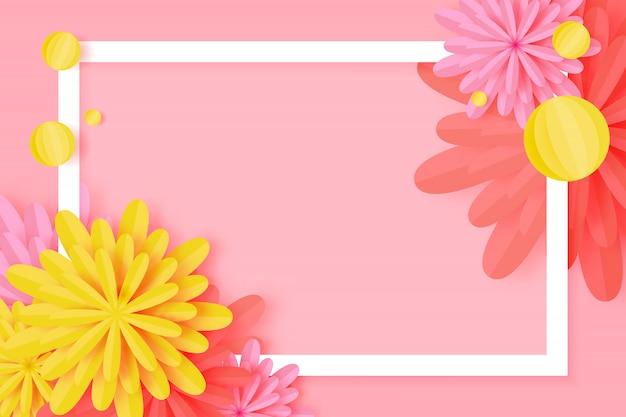 Tarjeta de felicitación floral cortada papel