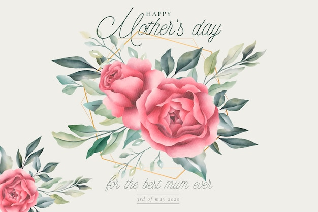 Tarjeta de felicitación floral del día de la madre