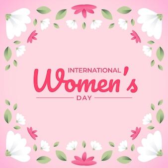 Tarjeta de felicitación floral del día de la mujer feliz