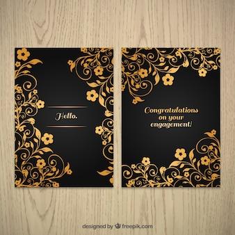 Tarjeta de felicitación floral dorada ornamental