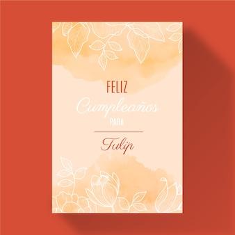 Tarjeta de felicitación floral feliz cumpleaños