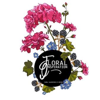 Tarjeta de felicitación floral con geranios en flor