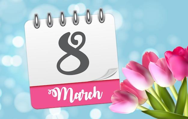 Tarjeta de felicitación floral internacional del día 8 de marzo del saludo de las mujeres felices del cartel