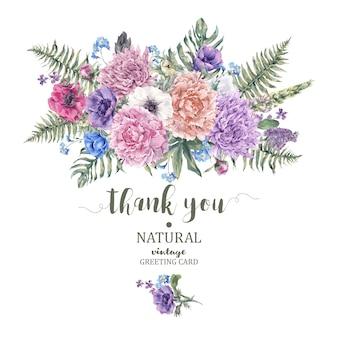 Tarjeta de felicitación floral vintage con anémonas