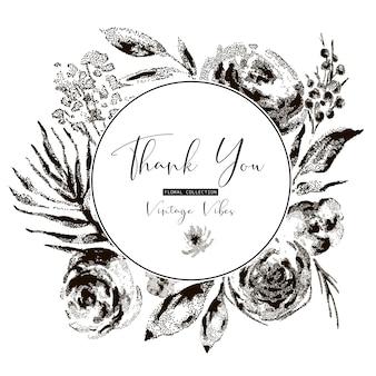 Tarjeta de felicitación floral vintage blanco y negro, flores