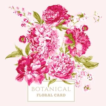 Tarjeta de felicitación floral vintage con peonías florecientes