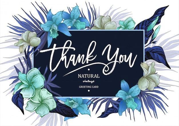 Tarjeta de felicitación floral vintage tropical de verano