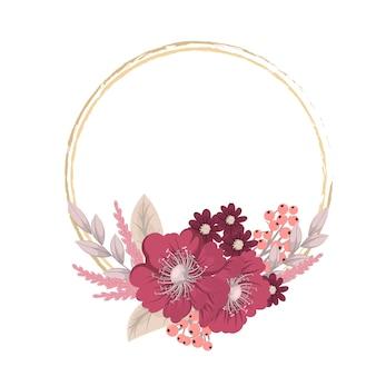 Tarjeta de felicitación con flores, acuarela. marco de corona de vector
