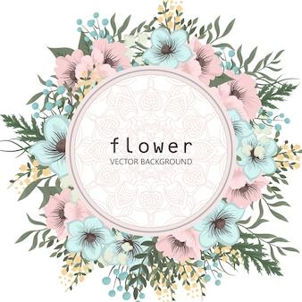 Tarjeta de felicitación con flores, acuarela. marco de vectores