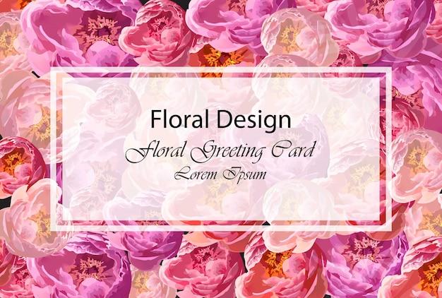 Tarjeta de felicitación con flores de acuarela peonía diseño de ilustraciones floral vectorial