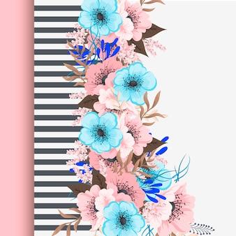 Tarjeta de felicitación con flores, acuarela.