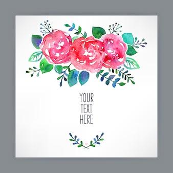 Tarjeta de felicitación con flores acuarelas