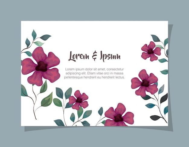 Tarjeta de felicitación con flores de color púrpura, invitación de boda con flores de color púrpura con decoración de ramas y hojas