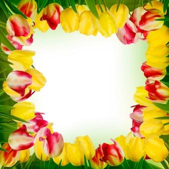 Tarjeta de felicitación con flores de colores.