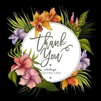 La tarjeta de felicitación con flores tropicales.
