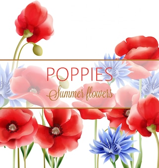 Tarjeta de felicitación de flores de verano acuarela con aciano azul y amapolas