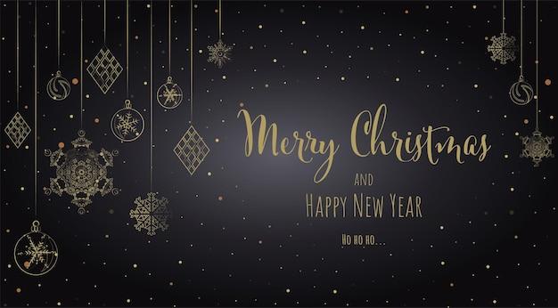 Tarjeta de felicitación de fondo de navidad y año nuevo blac ilustración vectorial